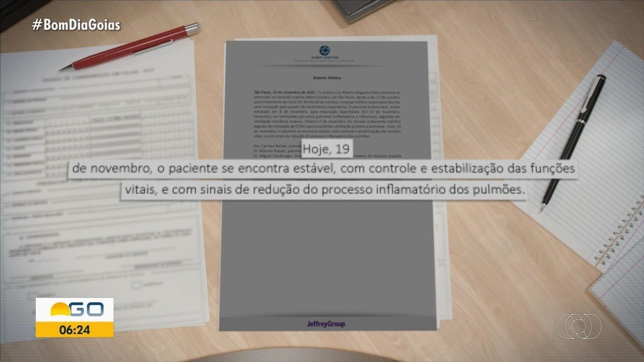Maguito Vilela tem melhora na inflamação dos pulmões, mas segue internado em UTI