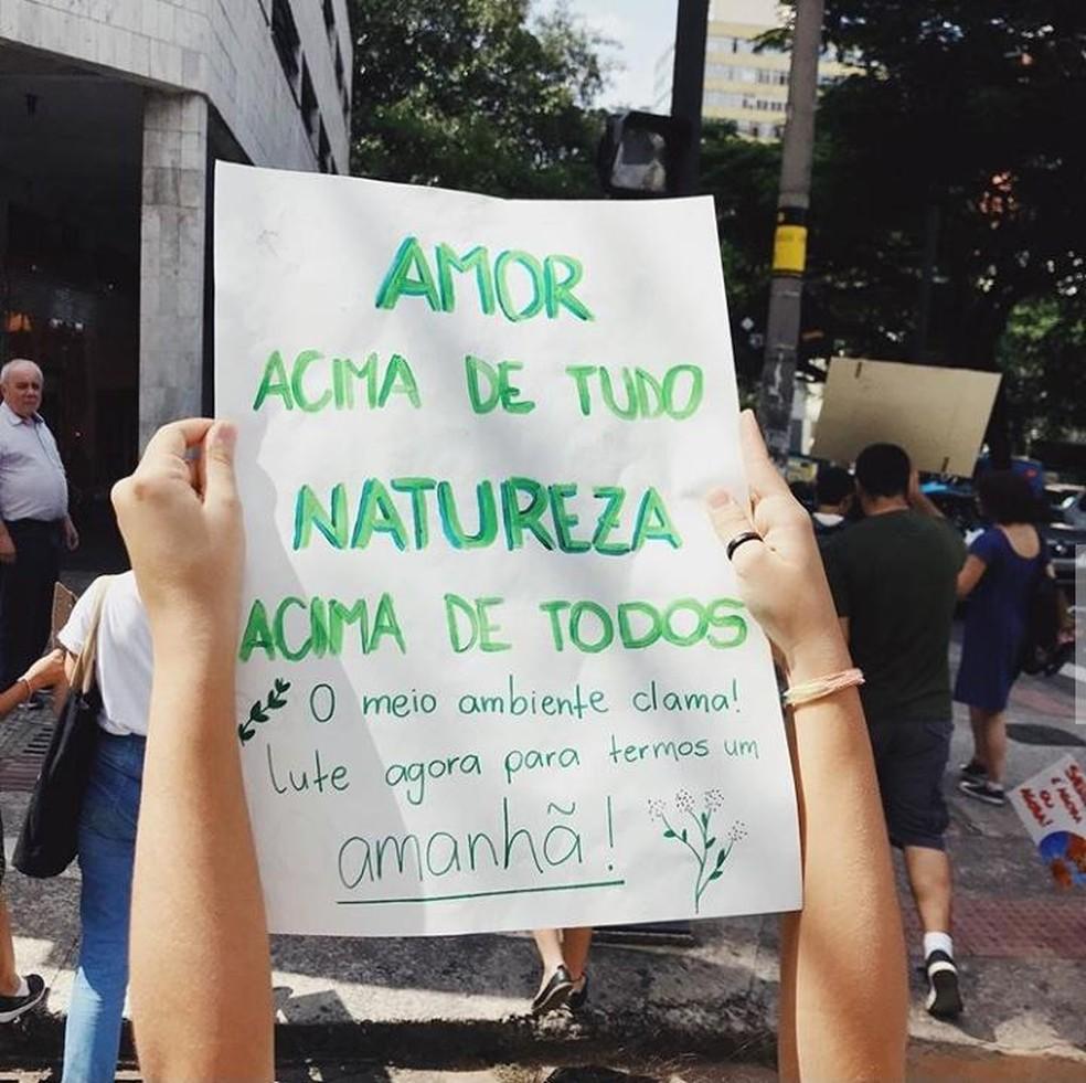 Jovens ativistas manifestam por melhoria em políticas climáticas — Foto: Rafael Castro