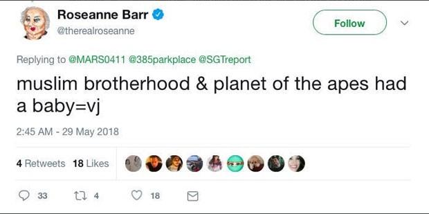 O tweet com o comentário racista de Roseanne Barr (Foto: Reprodução Twitter)