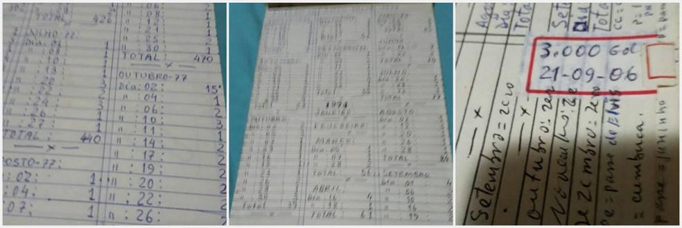 Cadernetas do médico Antônio Sarin, que afirma ter feito mais de 3 mil gols (Foto: Arquivo Pessoal/Antônio Sarin)