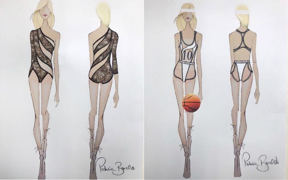 À esquerda, o figurino com o tema 'Zumba', enquanto à direita está a roupa inspirada no tema 'Basquete' (Foto: Divulgação/Assessoria)