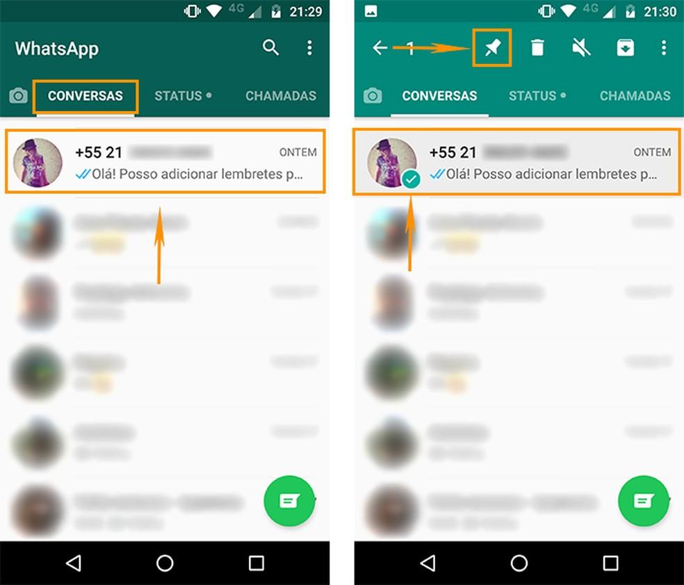 Fixe uma conversa no topo do WhatsApp pelo Android (Foto: Reprodução/Barbara Mannara)