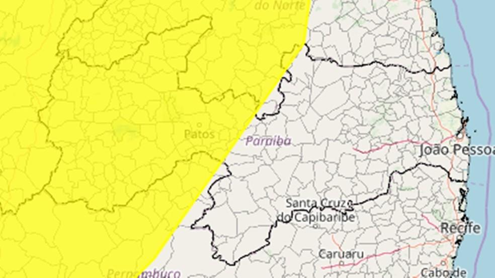 Mais de 90 cidades da Paraíba estão sob alerta amarelo de perigo potencial de chuvas intensas — Foto: Reprodução/Inmet