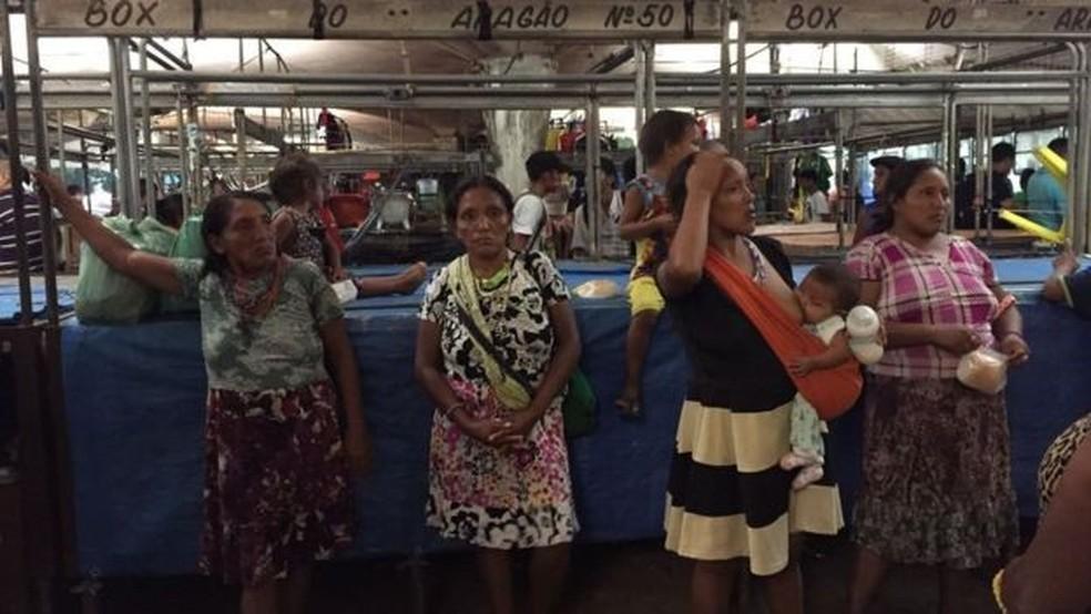 Os índios Warao começaram a desembarcar em Belém em julho (Foto: Leandro Machado/BBC Brasil)