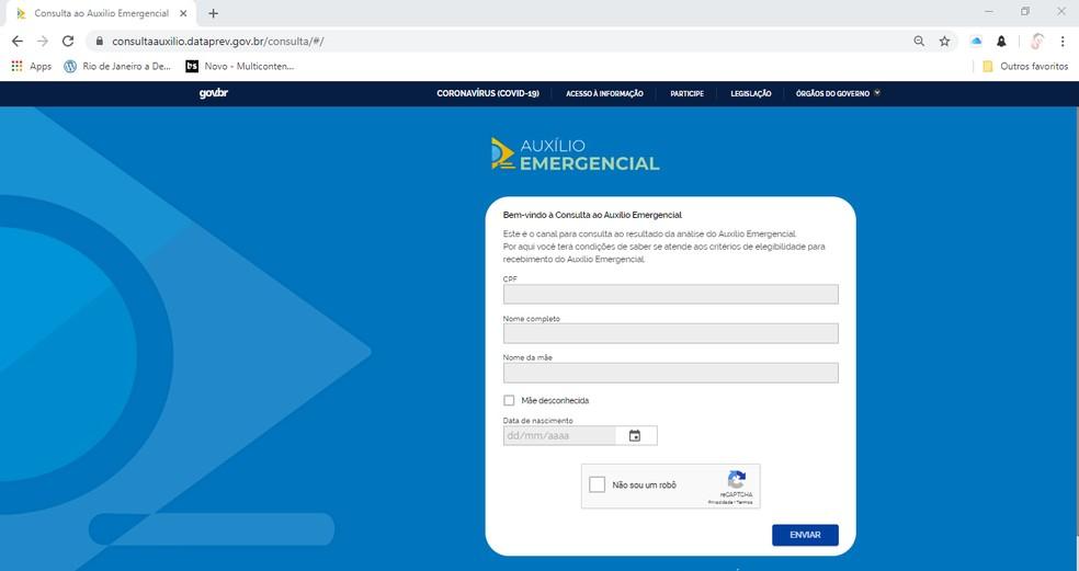 Consulta para saber se o CPF foi usado para requerer o Auxílio Emergencial deve ser feita no site da Dataprev  Foto: Reprodução
