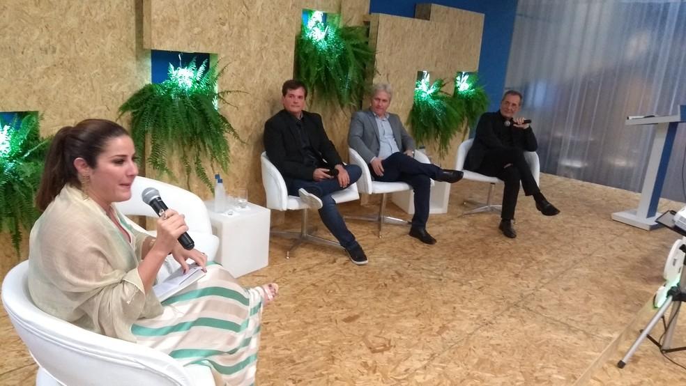 A jornalista da Rede Globo Cristiane Pelajo mediou conversa sobre o empreendedorismo em Rondônia (Foto: Toni Francis/G1)