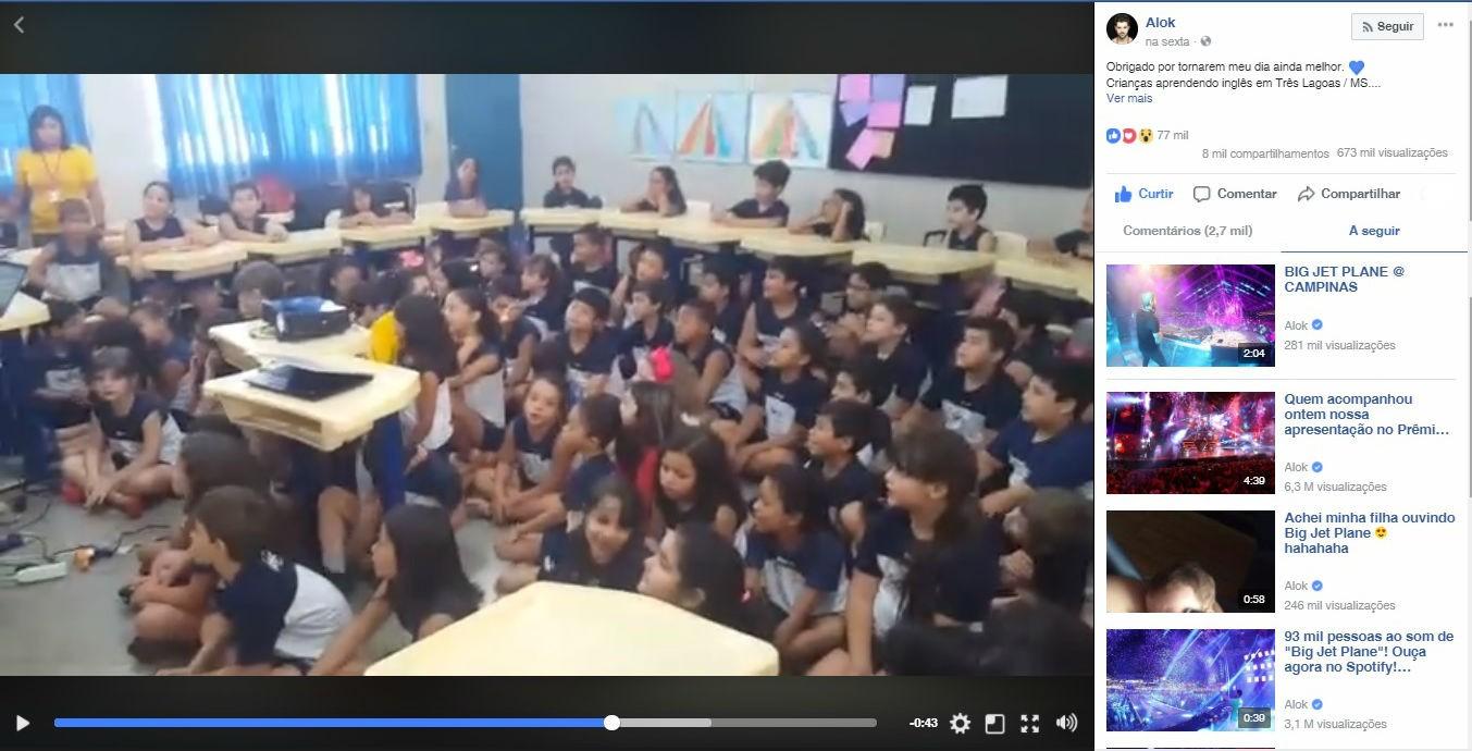 'Eduquem as crianças e não será necessário castigar os adultos', diz Alok sobre vídeo de alunos de MS aprendendo inglês com sua música