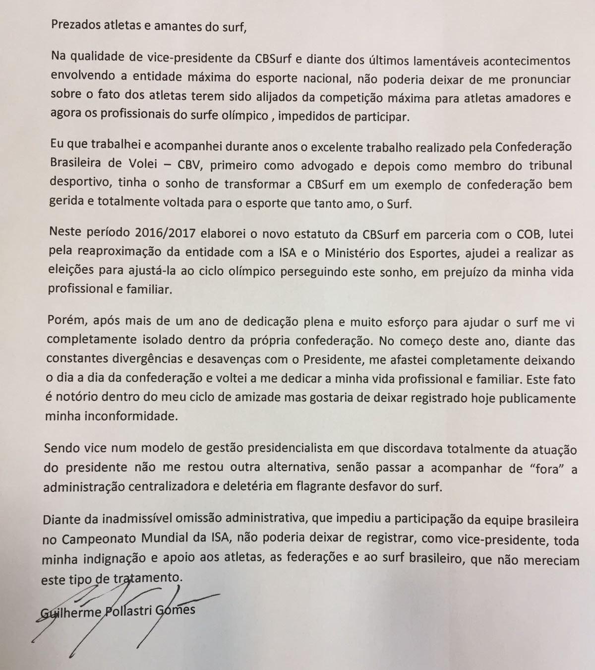 Carta do vice-presidente da Confederação Brasileira de Surf