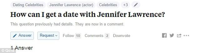 """Fã pergunta: """"Como faz para sair com Jennifer Lawrence?"""" (Foto: Reprodução/Qora)"""