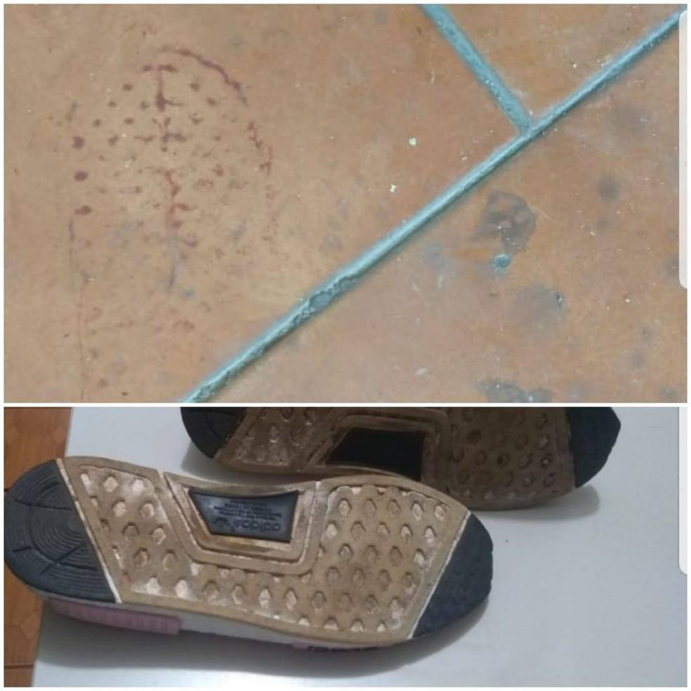 PM encontrou com suspeitos dois pares de tênis sujos de sangue. Solados coincidem com pegadas deixadas no local do crime. — Foto: Divulgação/Polícia Militar