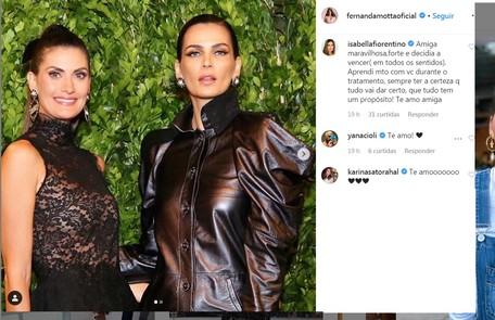 Isabella Fiorentino tem acompanhado a amiga no tratamento Reprodução/Instagram