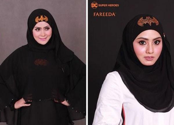 Empresa criou diferentes modelos de hijab com o logo de super-heróis da DC Comics (Foto: Reprodução)