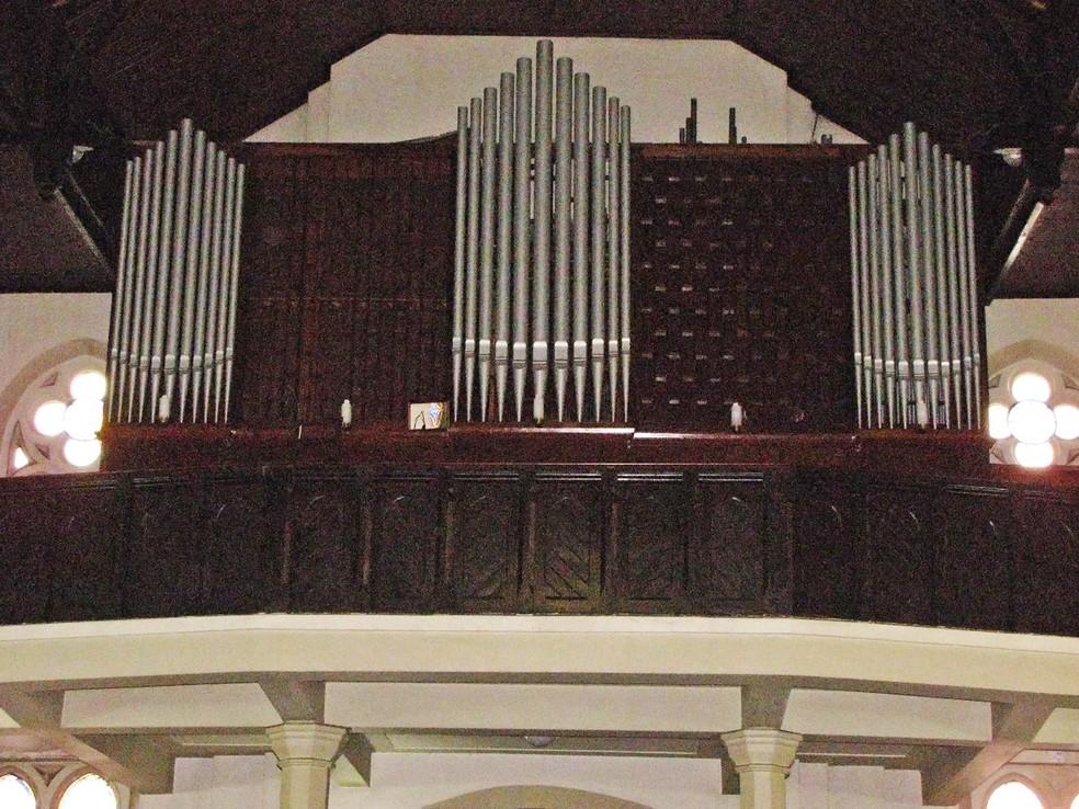 Foto de arquivo mostra o órgão da Igreja Evangélica Luterana de São Paulo (Foto: Débora Ludwig/Arquivo pessoal)