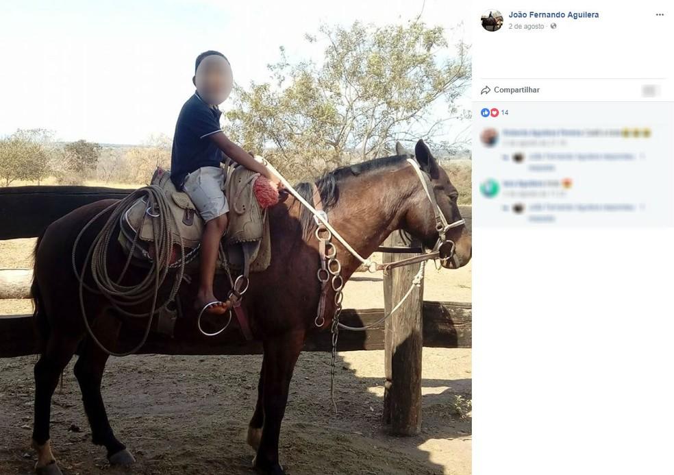 Menino de 8 anos morreu após ser arrastado por cavalo, diz polícia (Foto: Facebook/Reprodução)