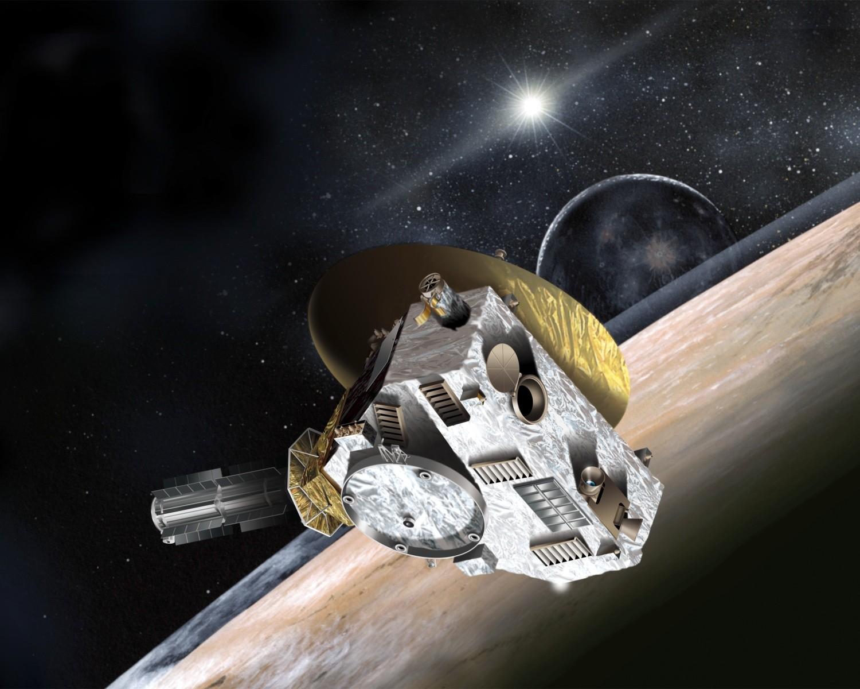 Desenho retrata a sonda New Horizons sobre Plutão (Foto: wikimedia commons)