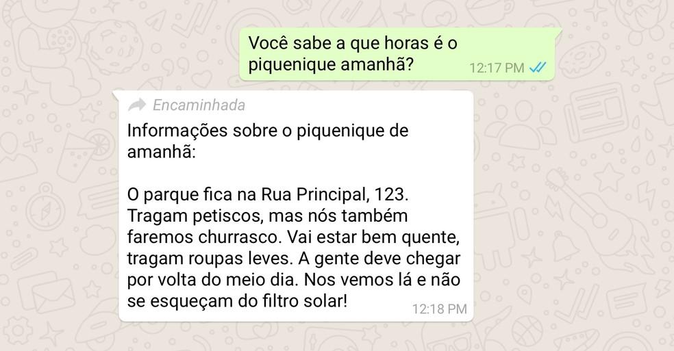 """Rótulo """"encaminhada"""" foi um esforço de transparência do mensageiro — Foto: Divulgação / WhatsApp"""