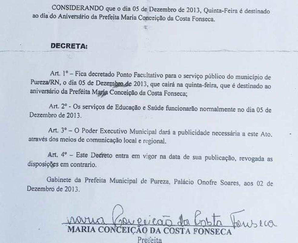 Decreto foi entregue em todas as secretarias municipais de Pureza (Foto: Fernanda Zauli/G1)