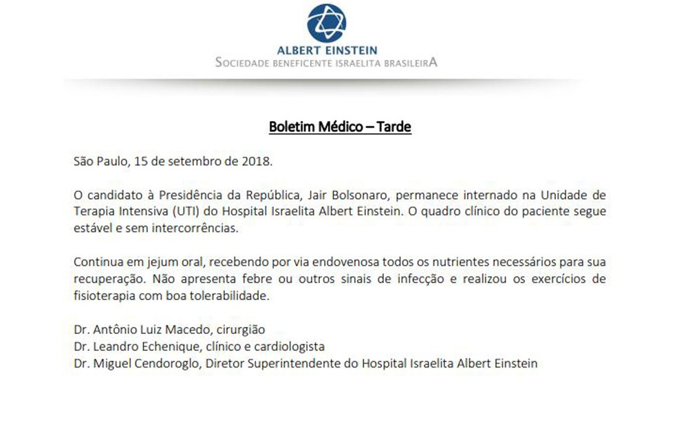 Boletim médico de Jair Bolsonaro divulgado pelo Hospital Israelita Albert Einstein — Foto: Reprodução