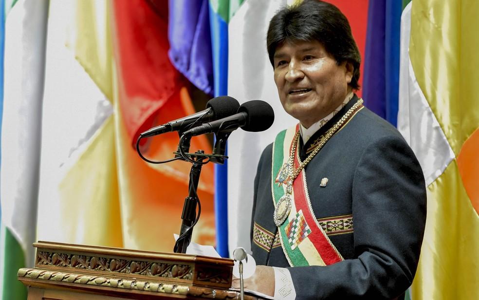 O presidente da Bolívia, Evo Morales, durante sua mensagem anual à nação perante a Assembleia Nacional, em La Paz, na segunda-feira (22) (Foto: HO/Bolivian Presidency/AFP)