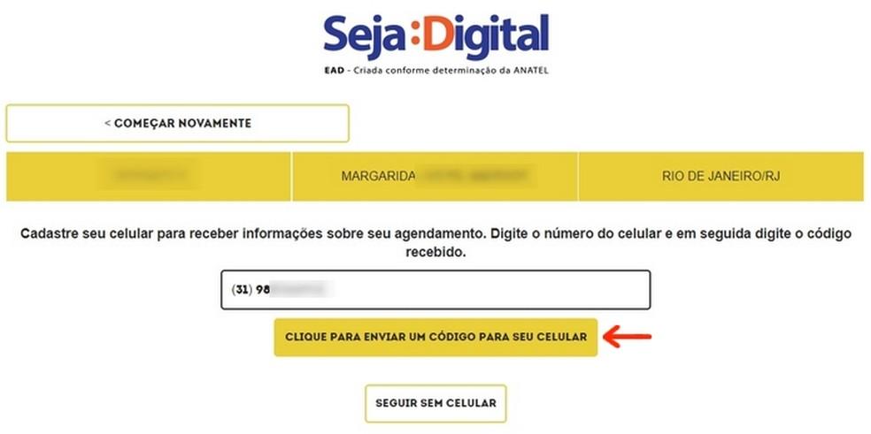 Envio do número de celular do beneficiário do kit grátis de TV digital (Foto: Reprodução/Raquel Freire)