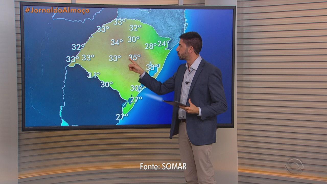 Sábado (10) tem previsão de calor e chegada de frente fria em parte do RS
