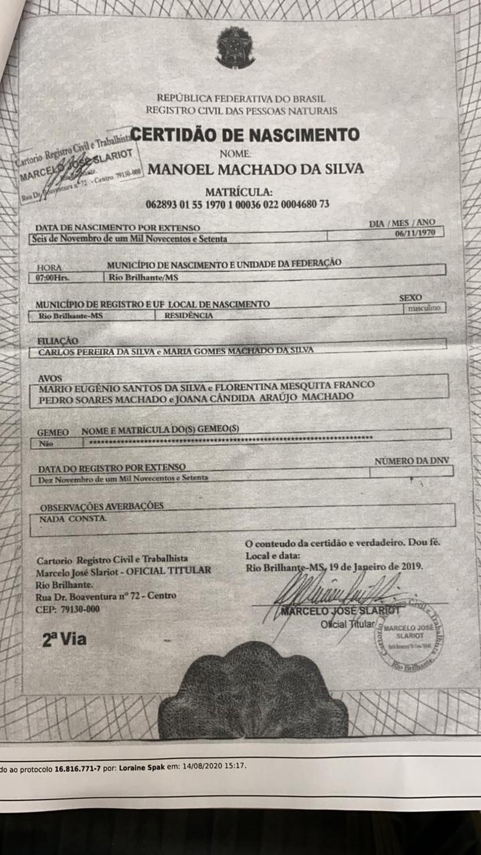 Polícia Civil informou que acredita que, com certidão de nascimento falsa, Cupertino usou nomes aleatórios de pais e avós na solicitação de novos documentos — Foto: Divulgação/Polícia Civil