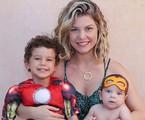 Bárbara Borges com os filhos, Martin e Theo | Reprodução