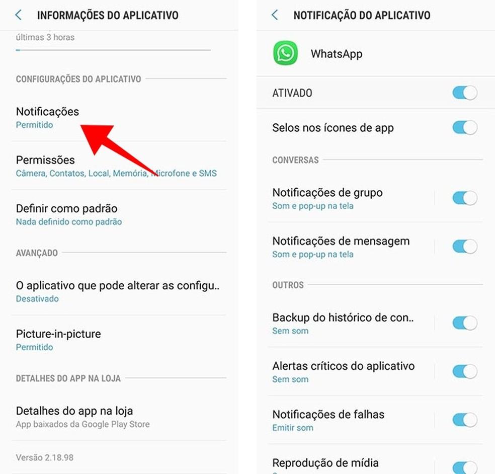 Acesse as configurações de notificações do WhatsApp (Foto: Reprodução/Paulo Alves)