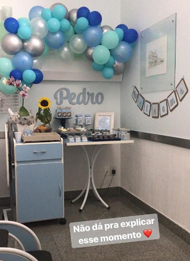 Detalhes da decoração do quartinho de Pedro na maternidade (Foto: Reprodução/Instagram)