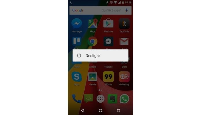 Botão para desligar o Android (Foto: Reprodução/Raquel Freire)