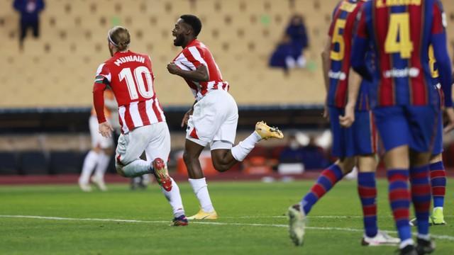 Iñaki Williams comemora gol que decidiu a final da Supercopa da Espanha para o Athletic Bilbao