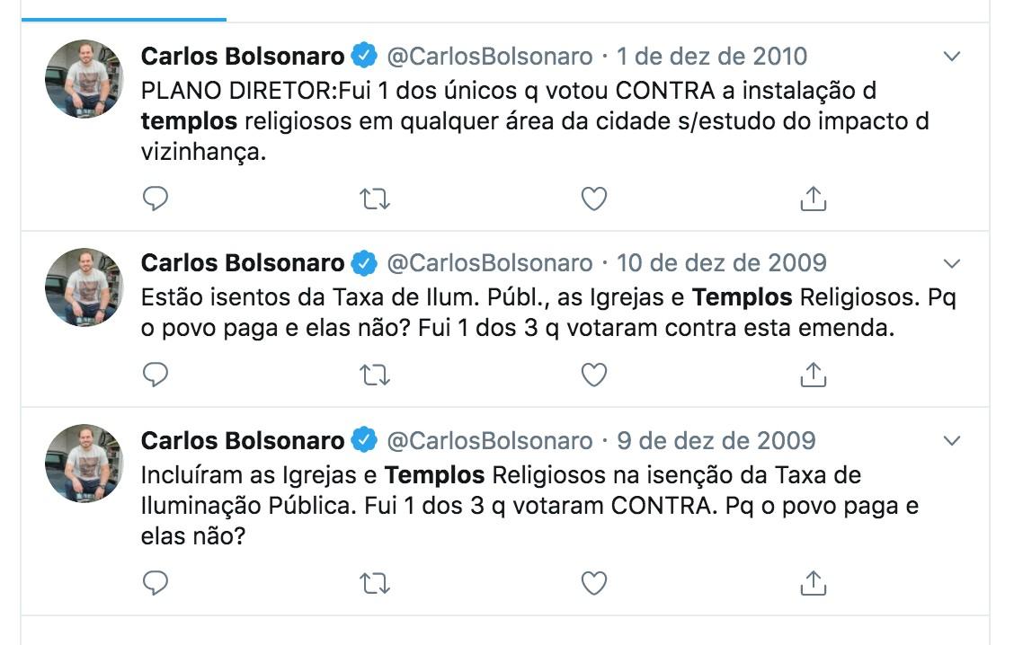 Postagens de Carlos Bolsonaro sobre isenção a igrejas