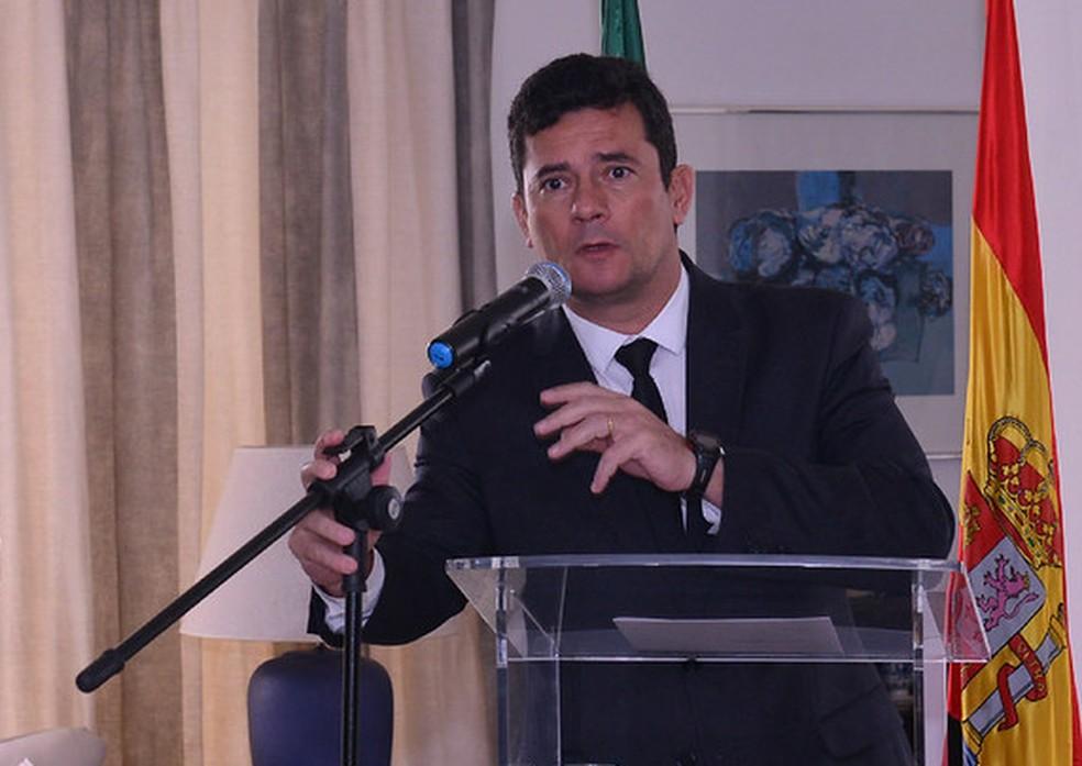Moro em recepção em agradecimento pela colaboração do Brasil e Espanha no âmbito da Justiça e Segurança Pública, nesta sexta (6) — Foto: Isaac Amorim/MJSP