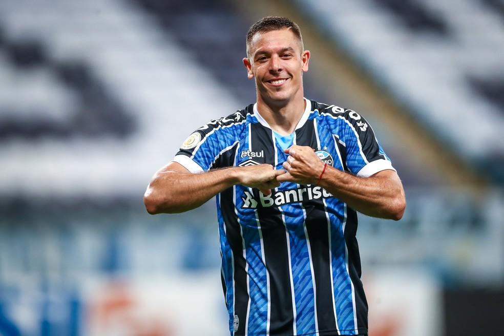 Churín vibra com o primeiro gol pelo Grêmio — Foto: Lucas Uebel/Divulgação Grêmio