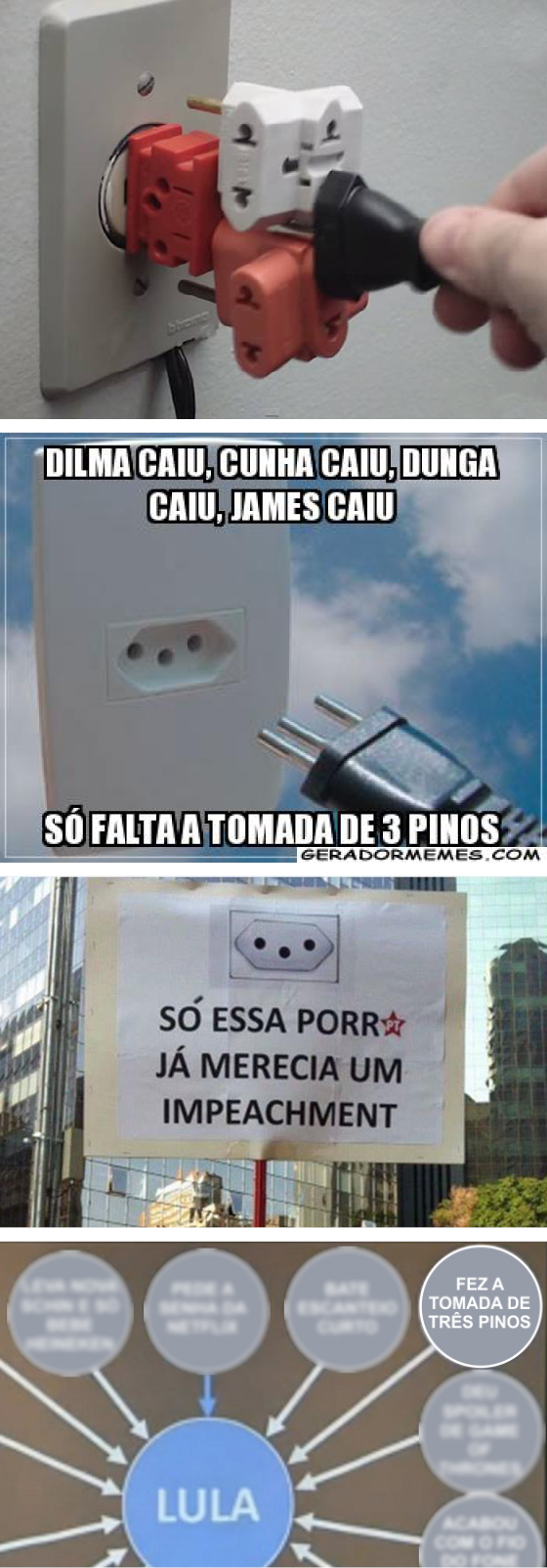 A tomada de três pinos é uma das campeãs na produção de memes nas redes sociais (Foto: Reprodução)