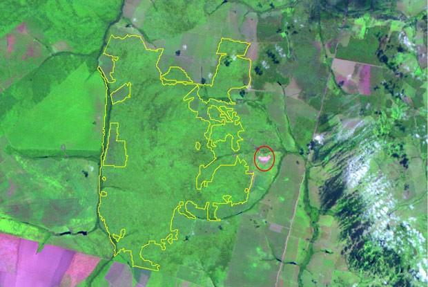 Imagem do Inpe mostra, marcada com linha amarela, o alerta de desmatamento na Terra Indígena Maraiwatsede. O círculo vermelho, acrescentado pelo Globo Natureza, indica a localização da aldeia xavante. (Foto: Inpe)