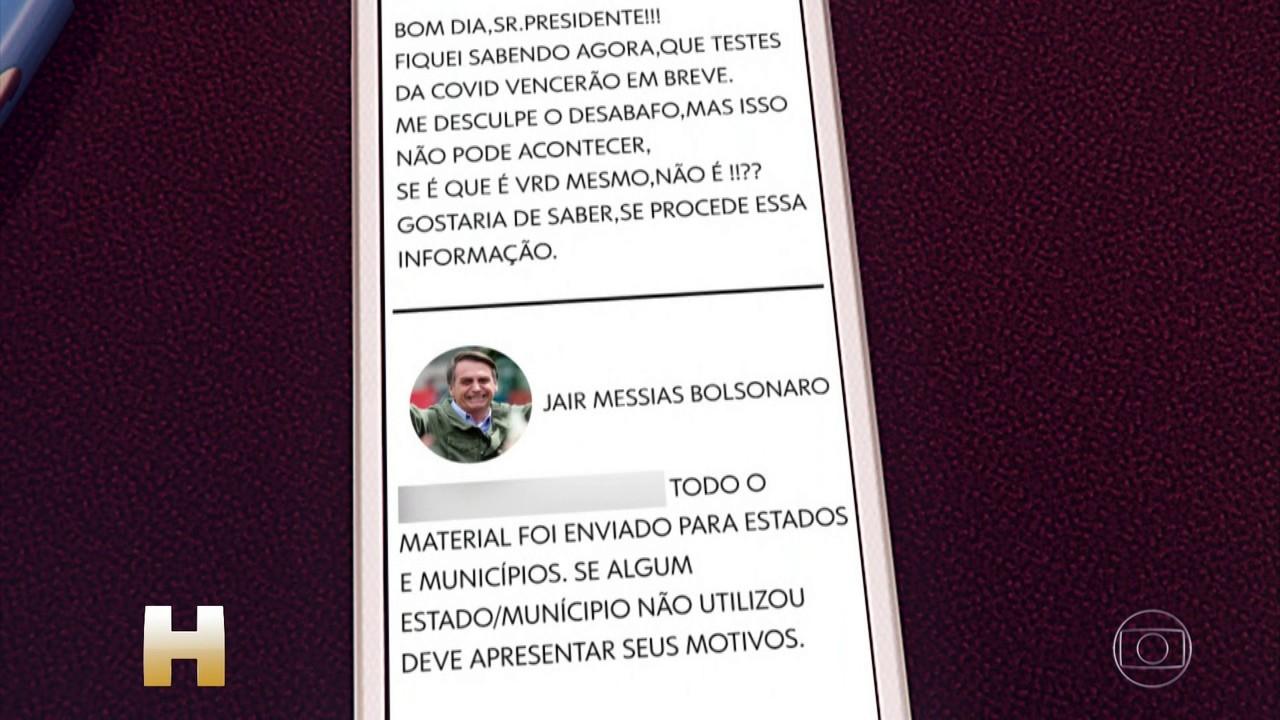 Bolsonaro nega que testes de Covid-19 perto de vencer estejam com o governo
