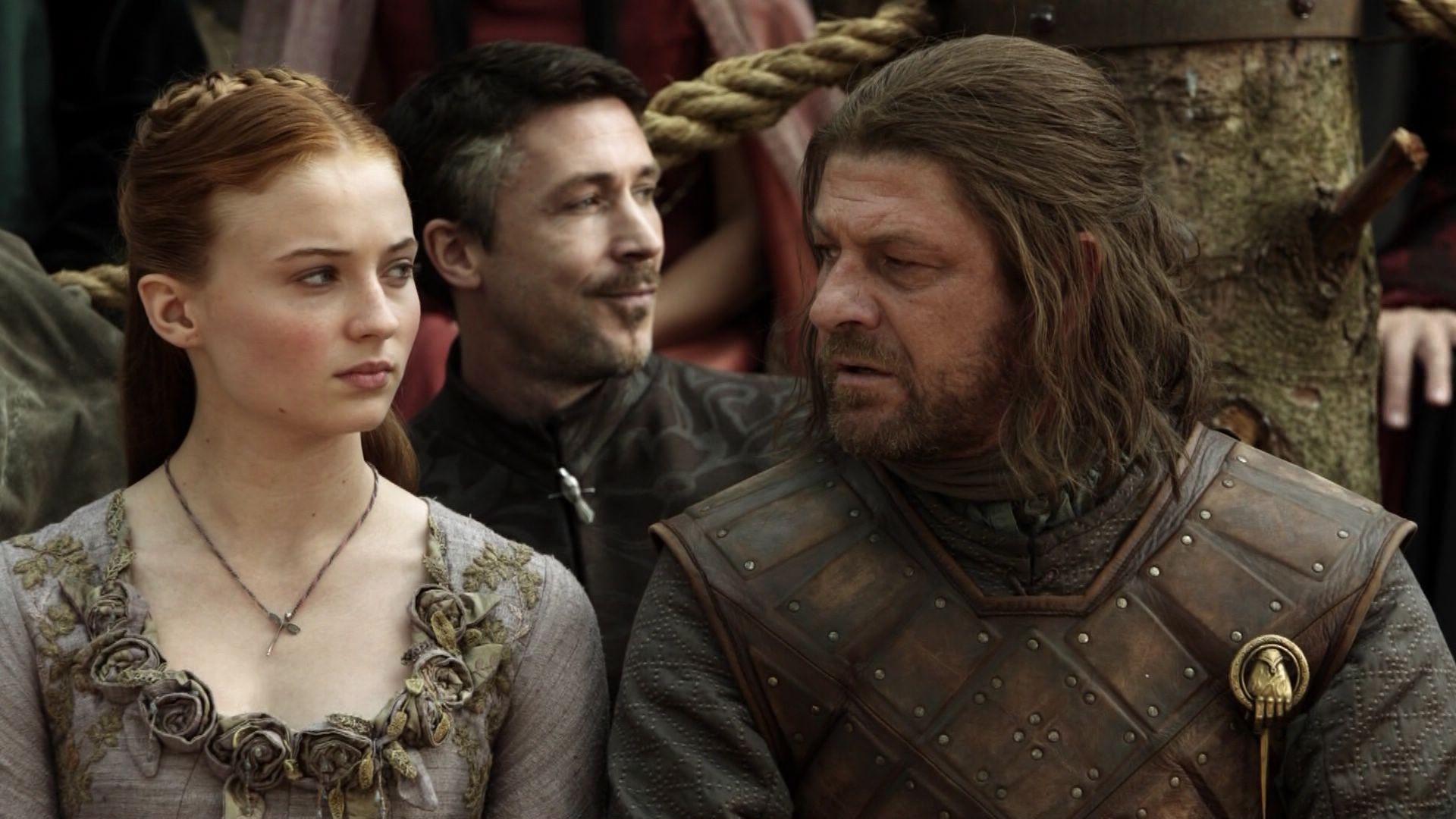 Sansa com o pai, Ned Stark, em Porto Real (Foto: Divulgação)