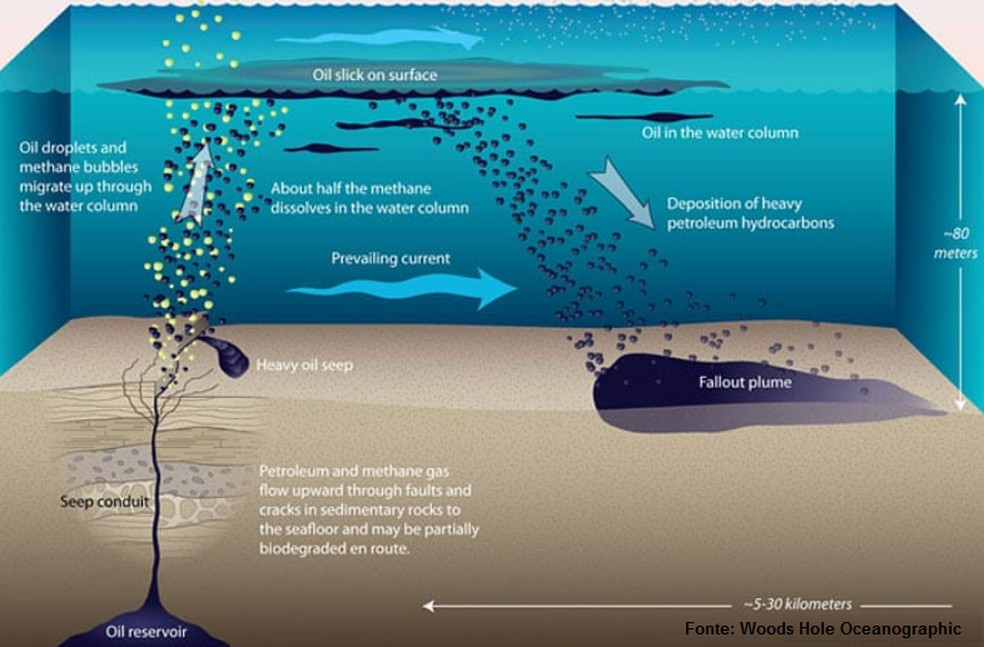 Imagem mostra como ocorre o processo de fragmentação de petróleo no mar — Foto: Divulgação/Lapis