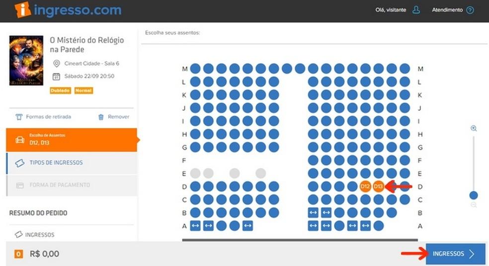 Compra de ingressos de cinema através do site do Google — Foto: Reprodução/Raquel Freire