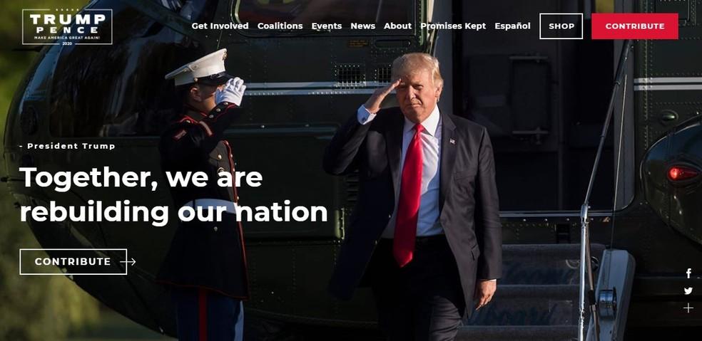 Home da página de campanha de Donald Trump, candidato a reeleição como presidente dos EUA — Foto: Reprodução
