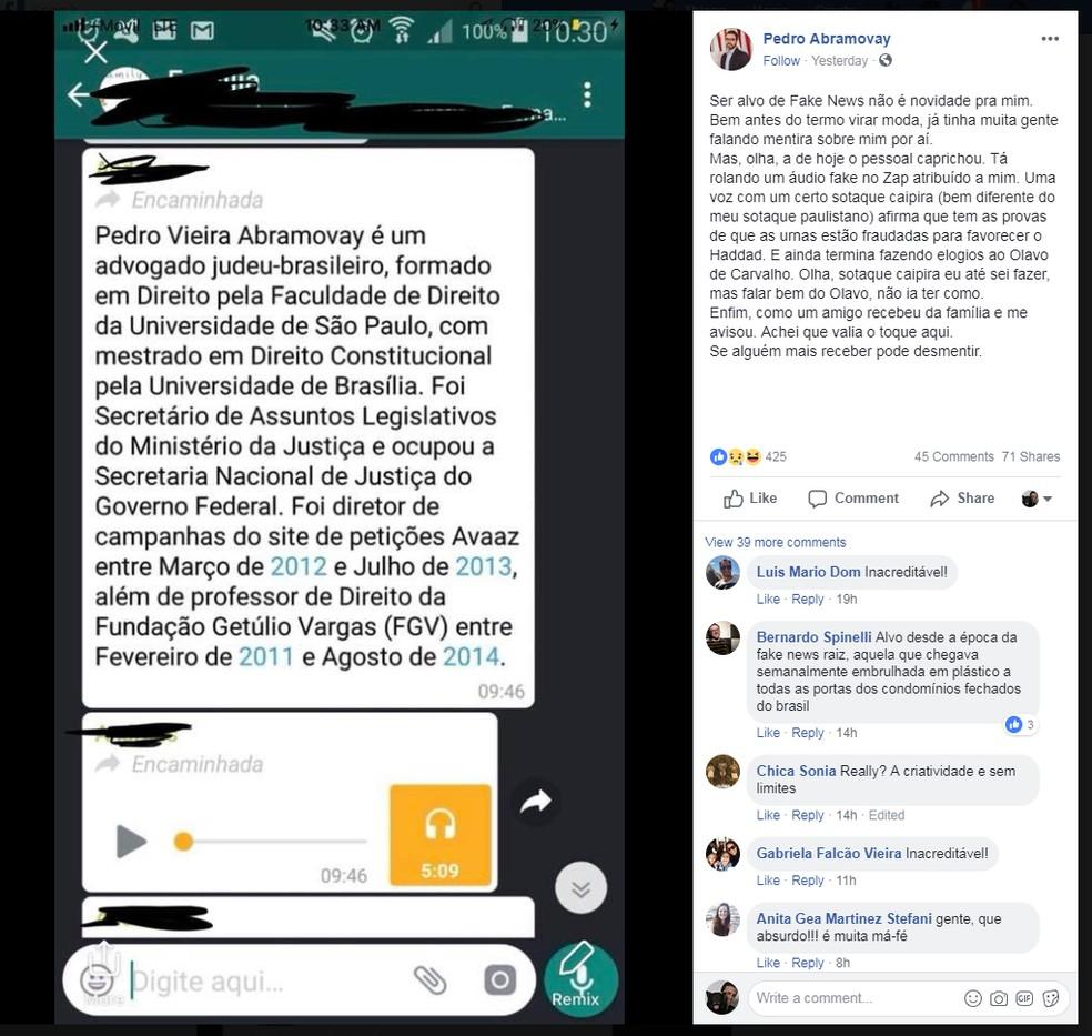 Advogado nega ser o autor do áudio falso — Foto: Reprodução/Facebook