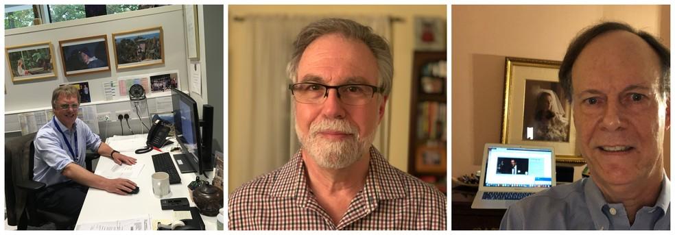 Os cientistas Peter Ratcliffe, Gregg Semenza e William Kaelin (esq.-dir.), vencedores do Prêmio Nobel 2019 de Medicina ou Fisiologia. — Foto: Reprodução/Twitter Prêmio Nobel