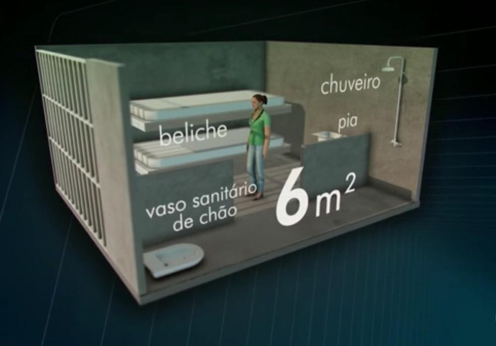 Simulação mostra cela onde Adriana Ancelmo está presa (Foto: Reprodução / TV Globo)