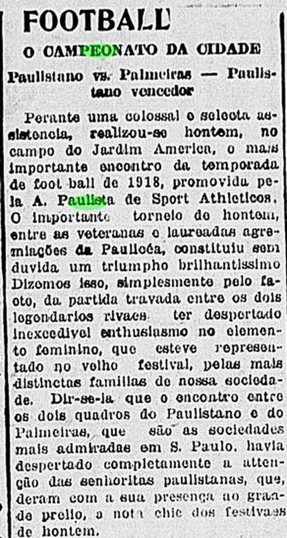 Jornal relata goleada do campeão Paulistano sobre o Palmeiras, em 1918 — Foto: Reprodução/Correio Paulistano