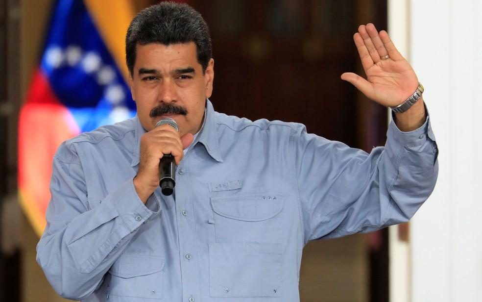 O presidente da Venezuela, Nicolás Maduro, em Caracas, na quarta-feira (4) (Foto: Reuters/Marco Bello)