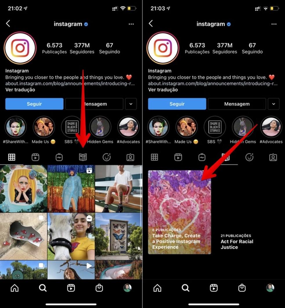 Acessando guias do Instagram — Foto: Reprodução/Helito Beggiora
