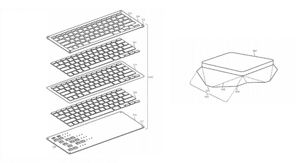 No lado esquerdo o esquema com membranas contra sujeira, no direito a tecla com a barreira individual (Foto: Divulgação/USPTO)