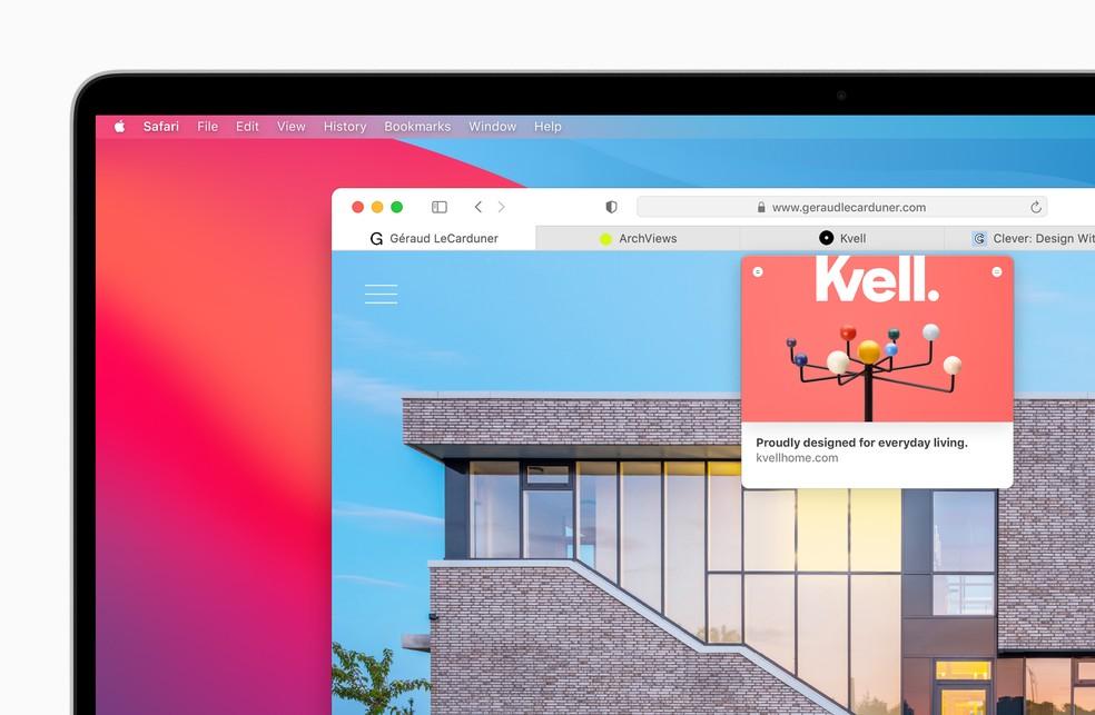 Mais rápido, Safari ganha gerenciamento de abas aprimorado e tela inicial personalizável — Foto: Divulgação/Apple