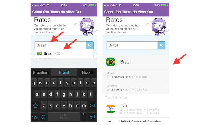 Obtendo as tarifas do Viber Out no Brasil (Foto: Reprodução/Marvin Costa)